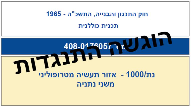 הוגשה התנגדות לתכנית נת/1000