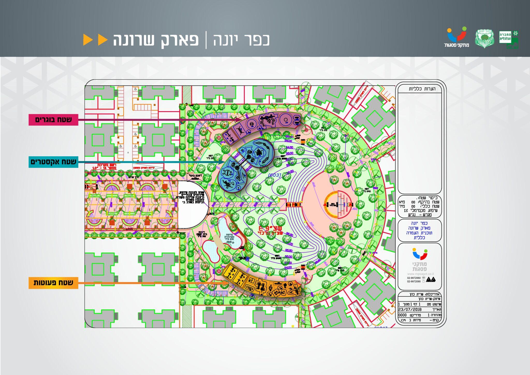 תכניות פארק שכונת שרונה כפר יונה